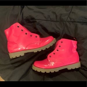 Pink chunky boots